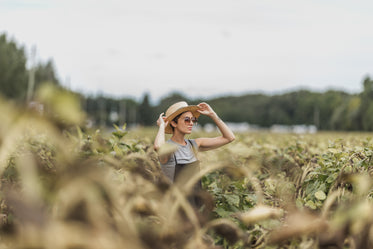 woman holding hat while standing in dried sunflower field