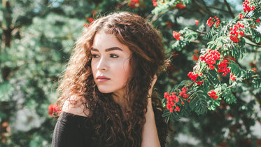 Picture of Woman In Red Floral Tree — Free Stock Photo