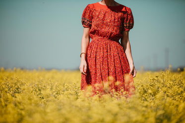 woman in red in yellow field