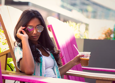 woman in summer sunglasses and fashion