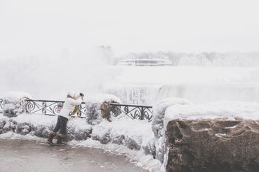 High Res Woman Takes Winter Waterfall Photo Picture — Free Images
