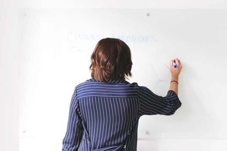 Woman Uses Whiteboard In Office