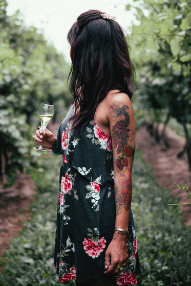 Browse Free HD Images of Women's Fashion Woman In Dress In Vineyard