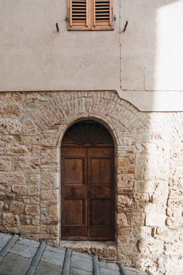 wood door in a stone wall