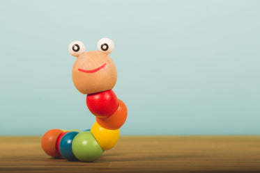 wooden baby toy worm