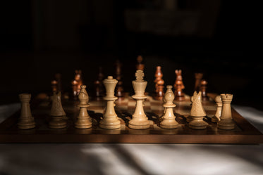 wooden chess pieces set for a game
