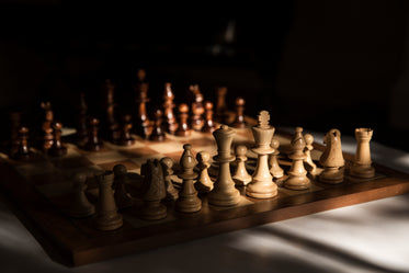 wooden chess set in partial window light