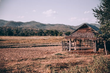 wooden shed in large field