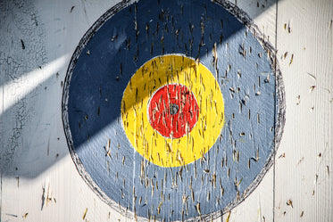 wooden target with marking from previous use