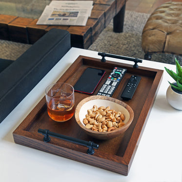 wooden tray on side table in living room