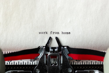 work from home a typewritten message