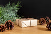 wrapped package and pine cones