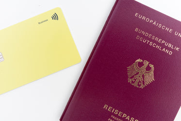 yellow card and a red and gold passport flatlay