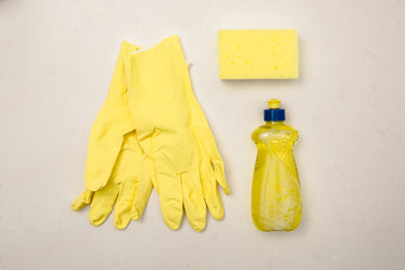 yellow cleaning supply flatlay
