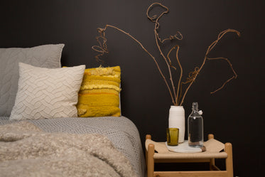 yellow pillow & bedside table