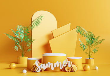 yellow platforms and shapes with a white summer sign