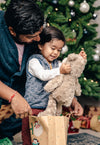 young boy receives teddy bear for christmas