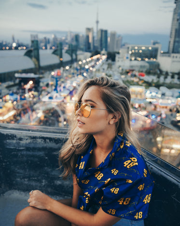 young woman on ferris wheel