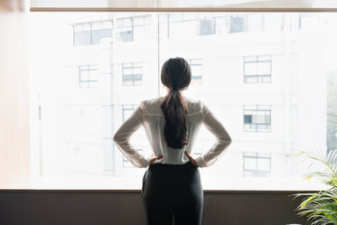 young woman taking stock of her surroundings